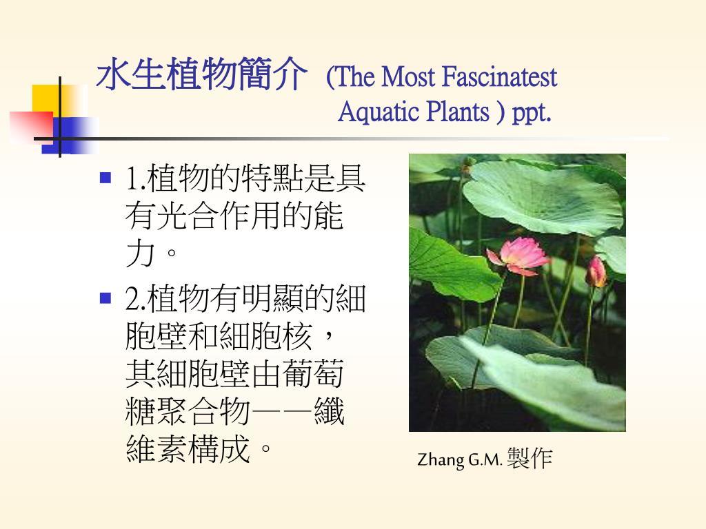 the most fascinatest aquatic plants ppt l.