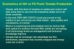 economics of gh vs fg fresh tomato production29