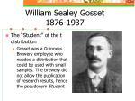 william sealey gosset 1876 1937