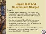 unpaid bills and unauthorized charges101