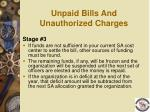 unpaid bills and unauthorized charges102