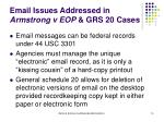 email issues addressed in armstrong v eop grs 20 cases