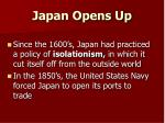 japan opens up