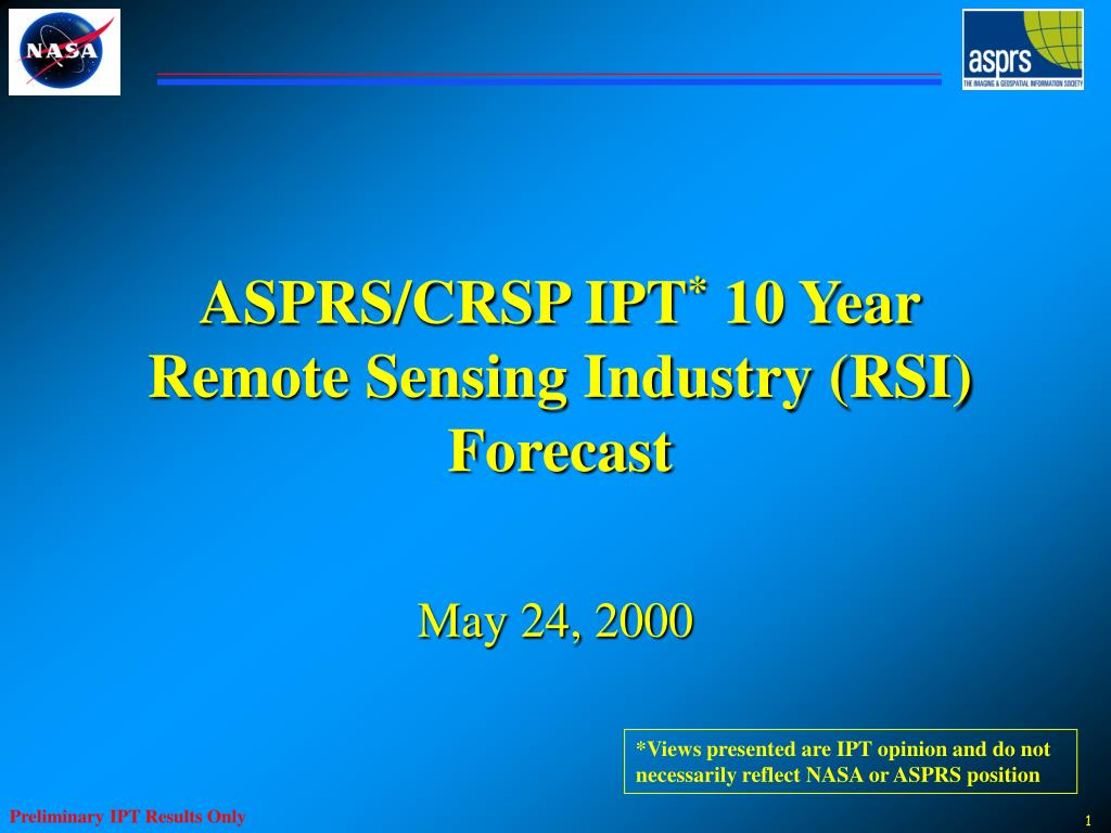 asprs crsp ipt 10 year remote sensing industry rsi forecast l.