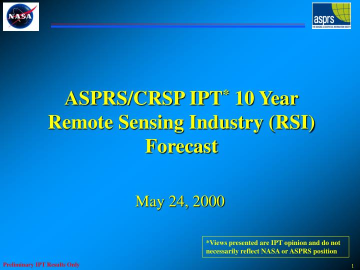 Asprs crsp ipt 10 year remote sensing industry rsi forecast