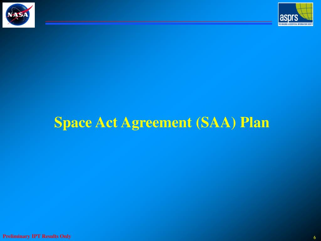 Space Act Agreement (SAA) Plan