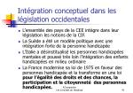 int gration conceptuel dans les l gislation occidentales