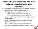 how do data4ss inquiries and local data warehousing tools work together