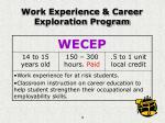 work experience career exploration program