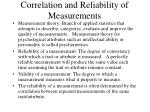 correlation and reliability of measurements