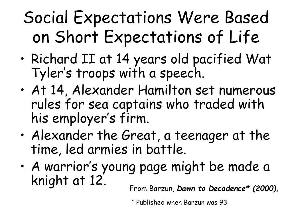 Social Expectations Were Based on Short Expectations of Life