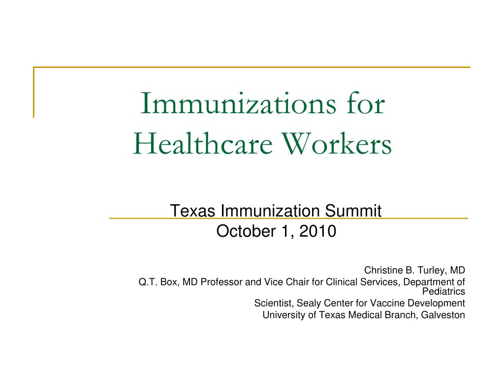 immunizations for healthcare workers l.