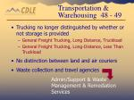 transportation warehousing 48 49