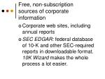 free non subscription sources of corporate information