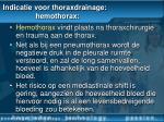 indicatie voor thoraxdrainage hemothorax