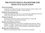the institutional framework for effective allocation