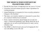 the medium term expenditure framework mtef