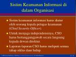 sistim keamanan informasi di dalam organisasi