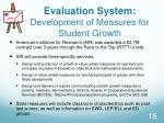 evaluation system development of measures for student growth