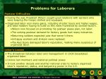 problems for laborers