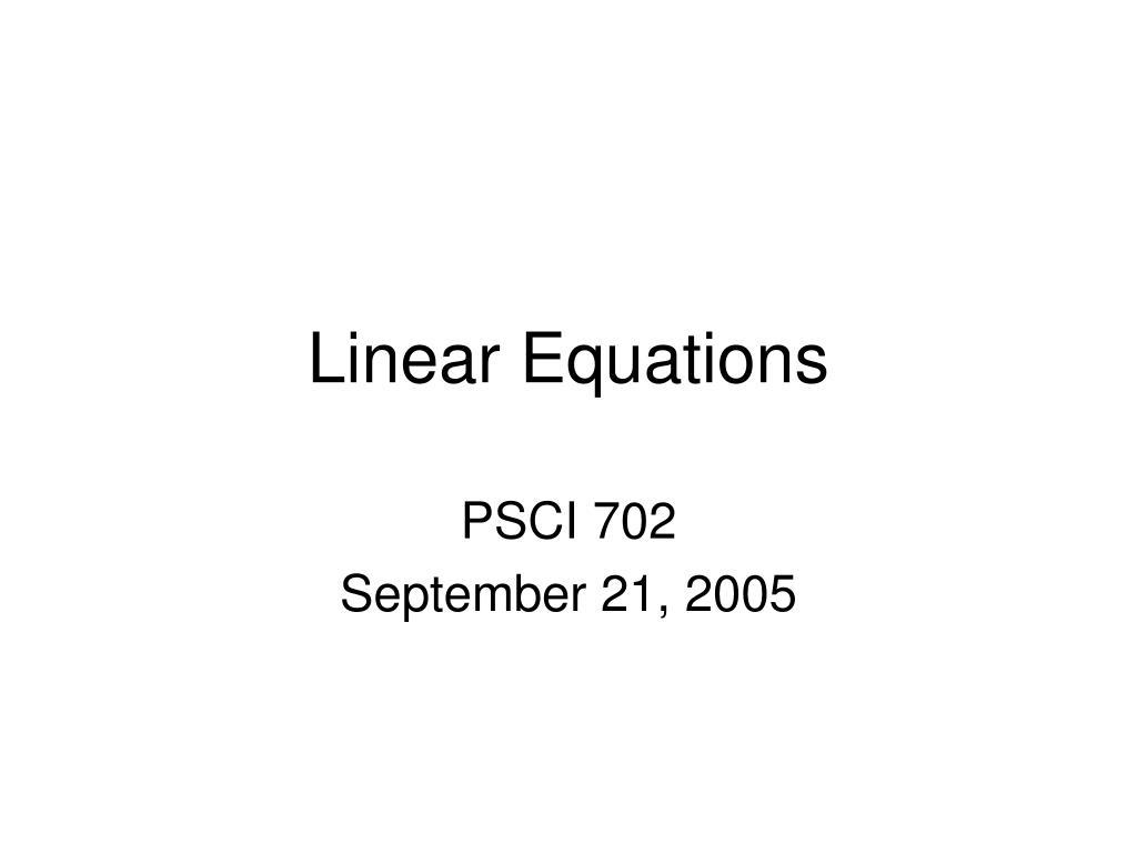 linear equations l.
