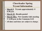 cheerleader spring tryout information