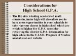 considerations for high school g p a128