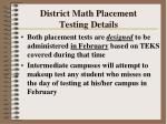 district math placement testing details110