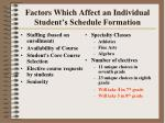 factors which affect an individual student s schedule formation