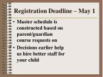 registration deadline may 168