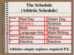 the schedule athletic schedule