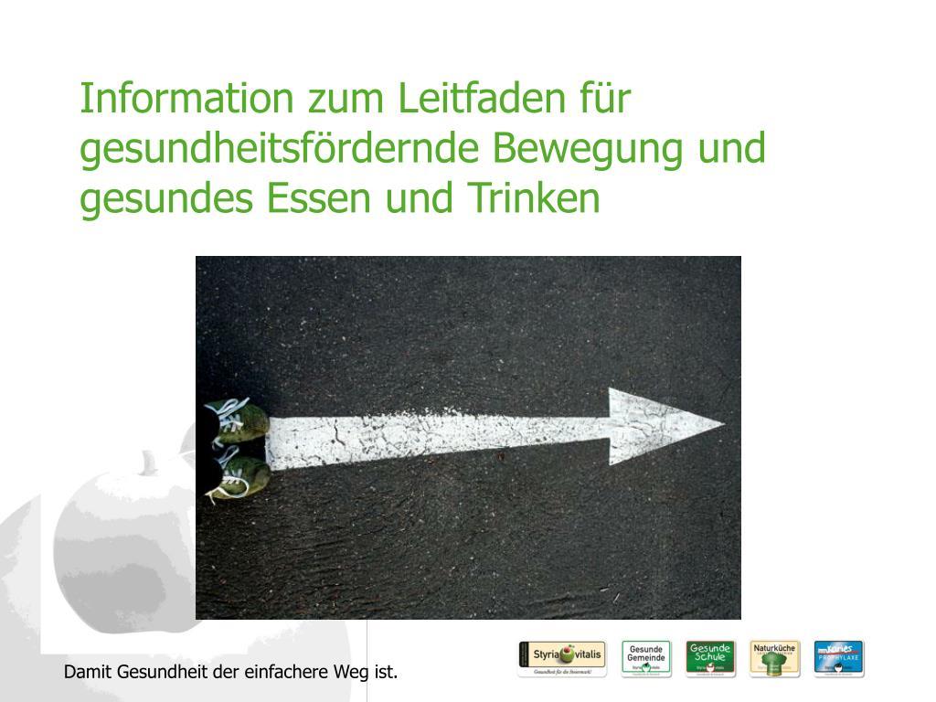 information zum leitfaden f r gesundheitsf rdernde bewegung und gesundes essen und trinken l.