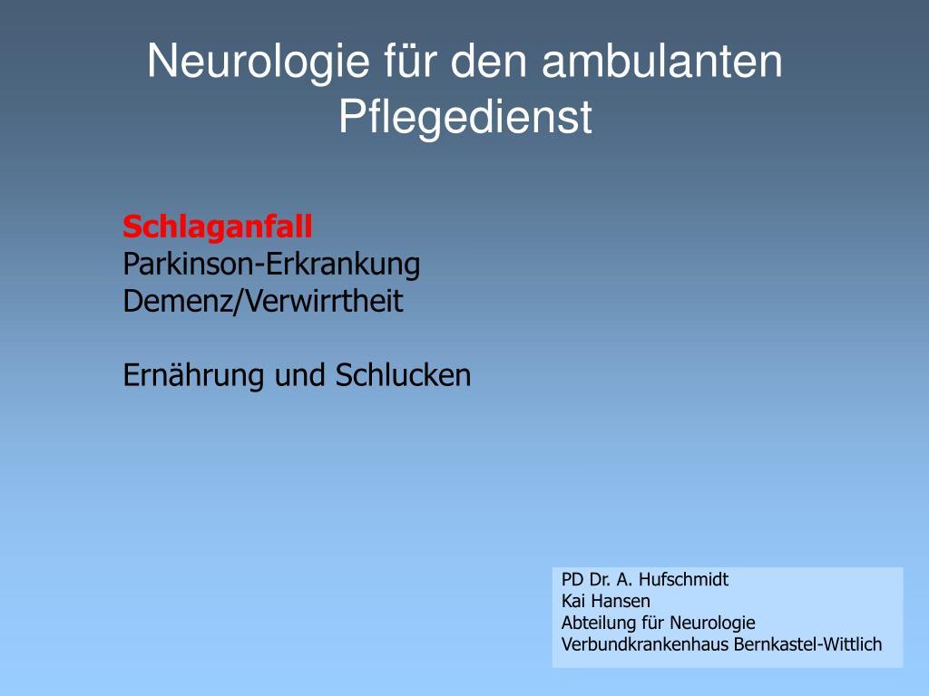 Neurologie für den ambulanten Pflegedienst
