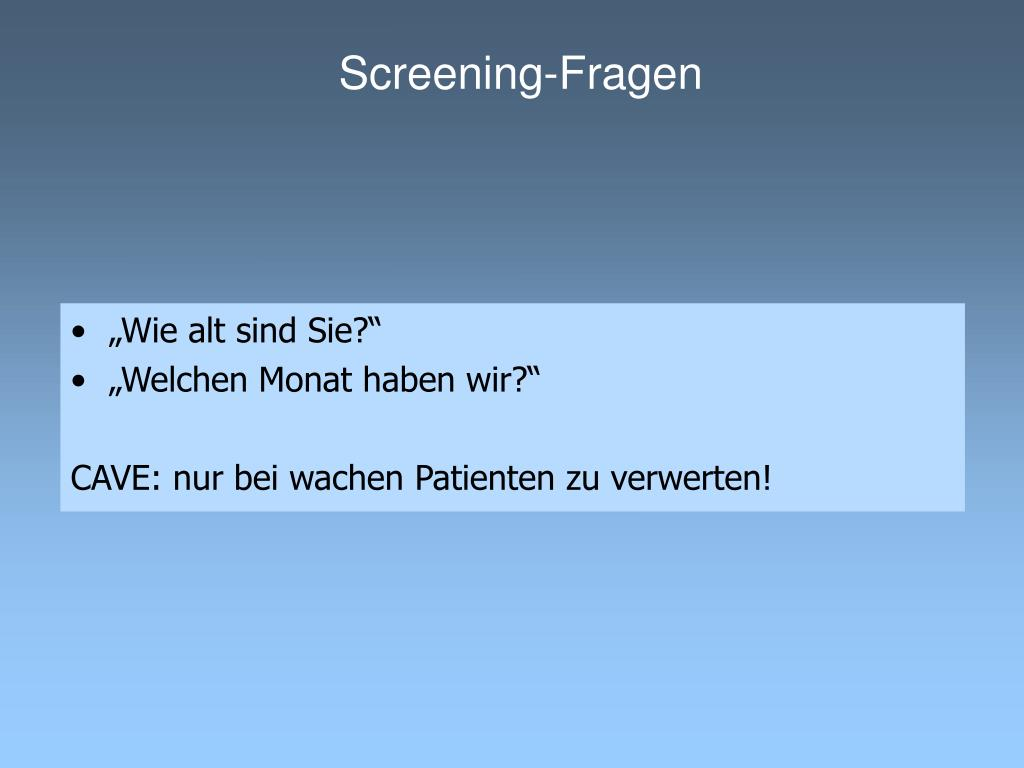 Screening-Fragen