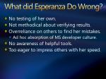 what did esperanza do wrong