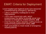 emat criteria for deployment
