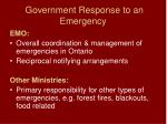 government response to an emergency