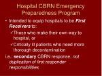hospital cbrn emergency preparedness program