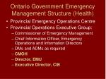 ontario government emergency management structure health