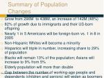 summary of population changes
