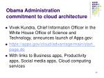 obama administration commitment to cloud architecture
