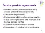 service provider agreements