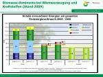 biomasse dominante bei w rmeerzeugung und kraftstoffen stand 2009