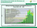 entwicklung des anteils der biomasse am kraftstoffverbrauch