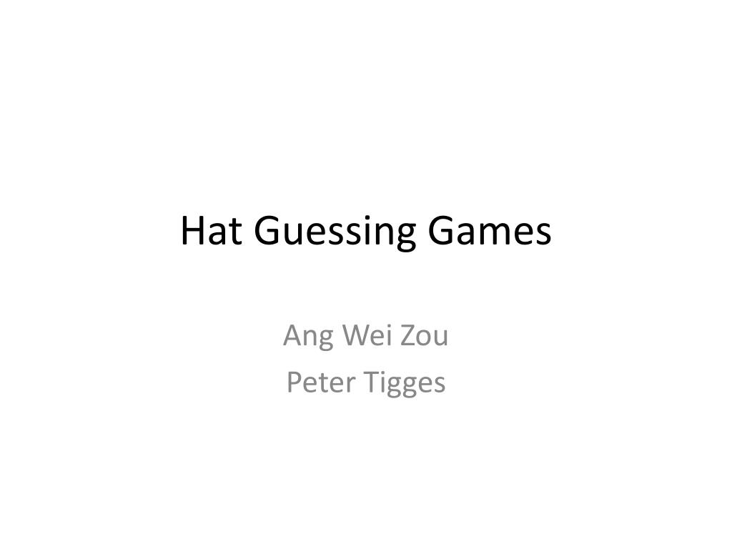 hat guessing games l.