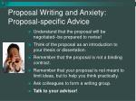 proposal writing and anxiety proposal specific advice