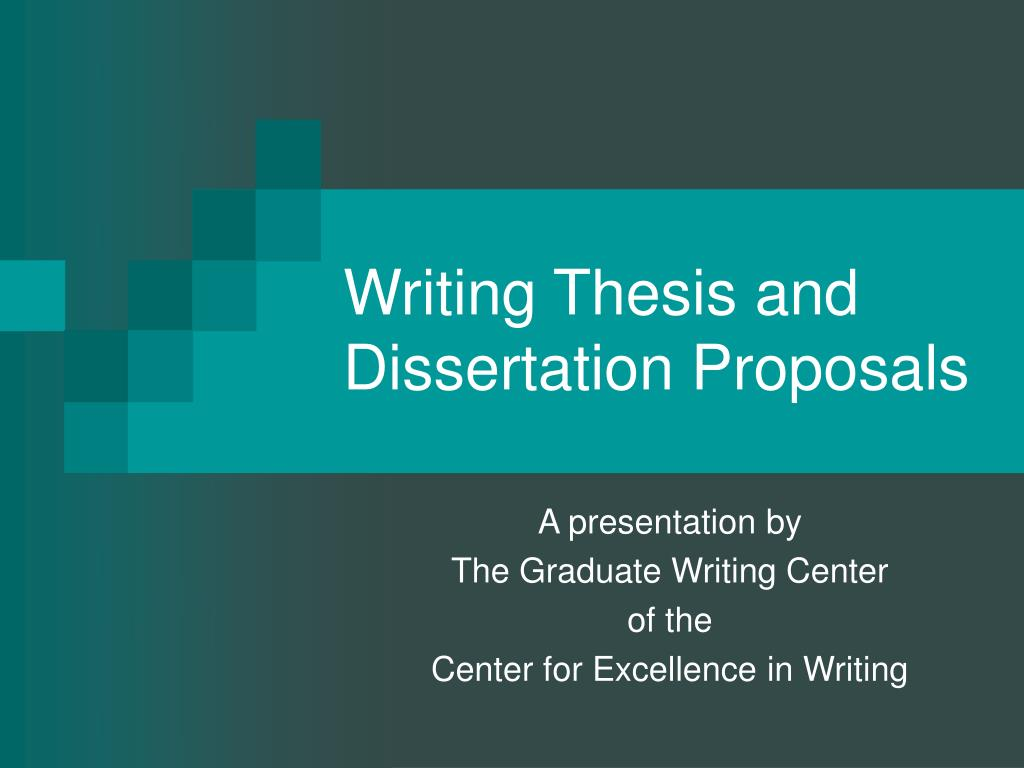 writing thesis and dissertation proposals l.