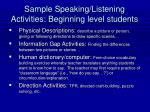 sample speaking listening activities beginning level students