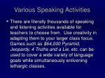 various speaking activities