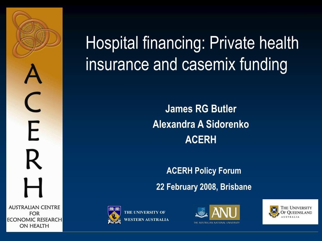 hospital financing private health insurance and casemix funding l.